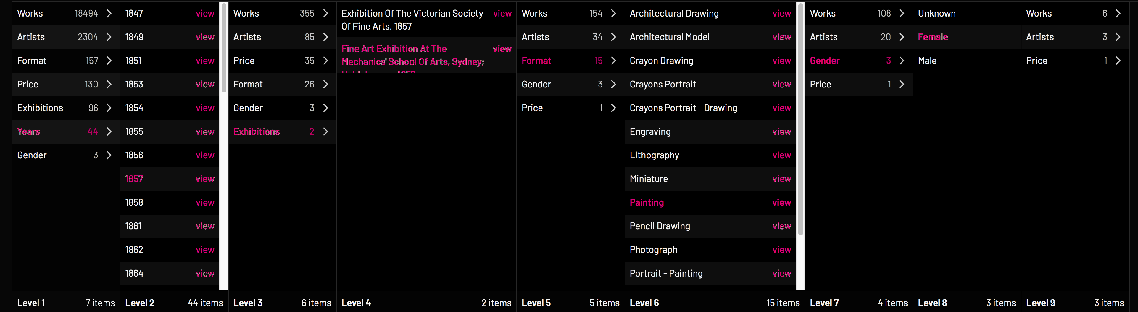 Art Index Explore page example